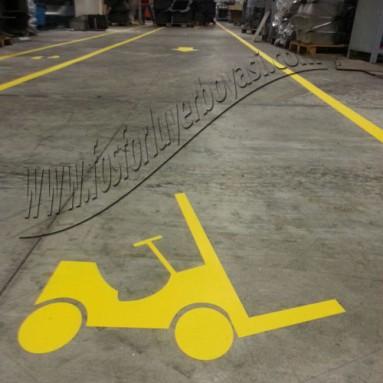 sarı yer boyası forklift işareti nasıl çizilir