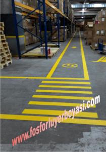 fabrika içi  sarı yer boyası uygulamaları