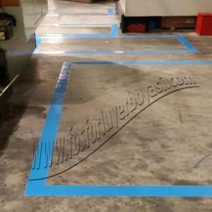 fosforlu yer boyası mavi renk şablon uygulaması