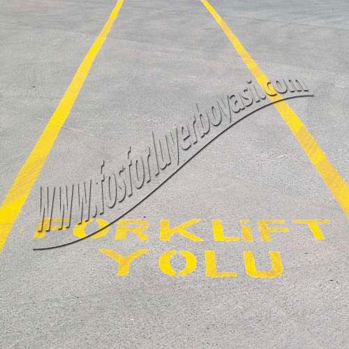 Yer boyası sarı renk forklift yazı şablonu