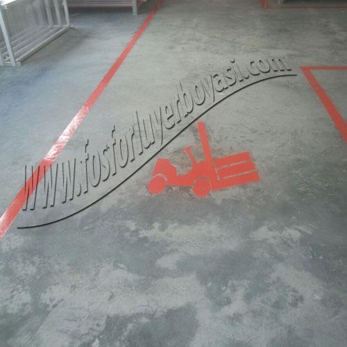 fosforlu yer boyası forklift yolu