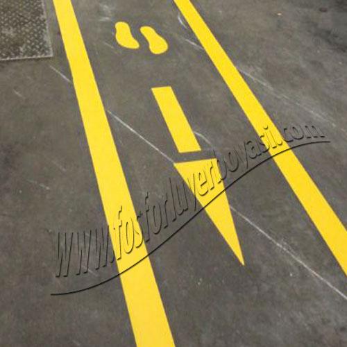 fosforlu yerboyası ok zemin boya adım işareti