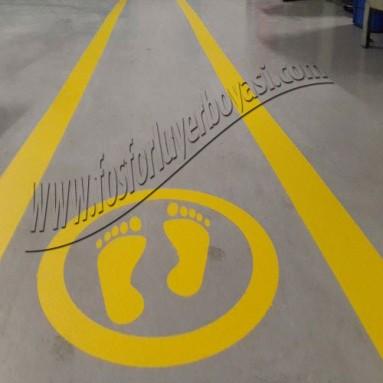 yer çizgi boyası yaya yolu ayak sarı