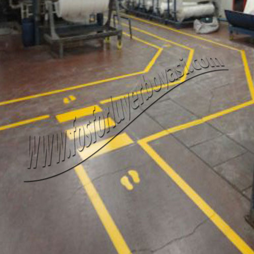 fosforlu yer boyası yaya yolu fabrika içi uygulamaları